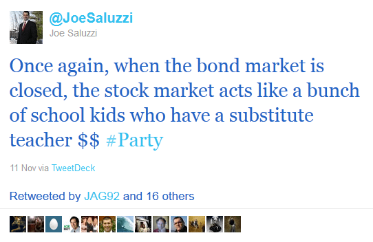 tweets from Joe Saluzzi, financial trading