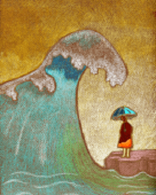 A woman holding an umbrella as a big ocean wave is coming toward her