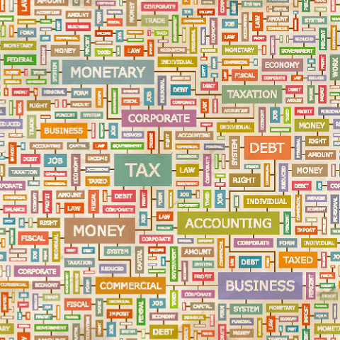 TAX. Concept vector illustration. Word cloud with related tags and terms. Graphic tag collection. Wordcloud collage