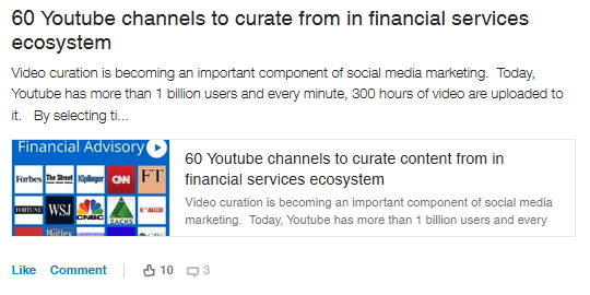 Youtube curation
